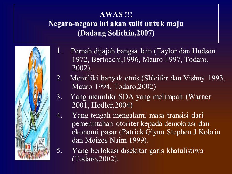 AWAS !!! Negara-negara ini akan sulit untuk maju (Dadang Solichin,2007) 1. Pernah dijajah bangsa lain (Taylor dan Hudson 1972, Bertocchi,1996, Mauro 1