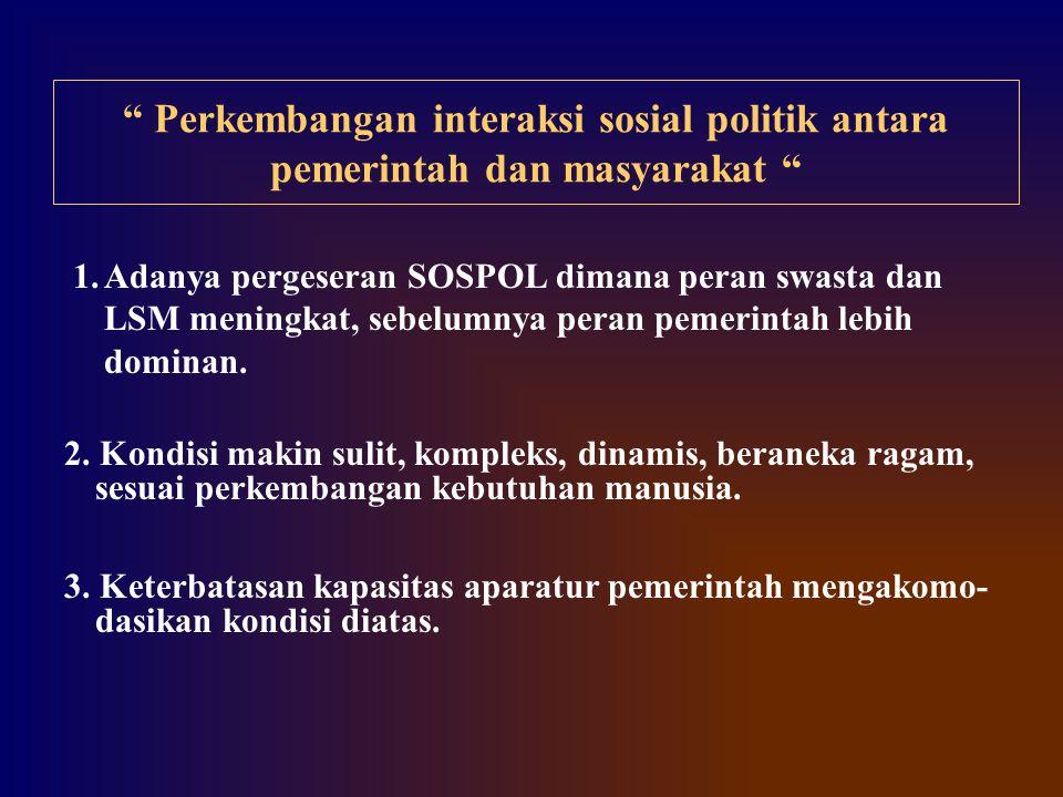 """"""" Perkembangan interaksi sosial politik antara pemerintah dan masyarakat """" 1.Adanya pergeseran SOSPOL dimana peran swasta dan LSM meningkat, sebelumny"""