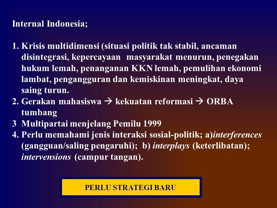 Internal Indonesia; 1. Krisis multidimensi (situasi politik tak stabil, ancaman disintegrasi, kepercayaan masyarakat menurun, penegakan hukum lemah, p