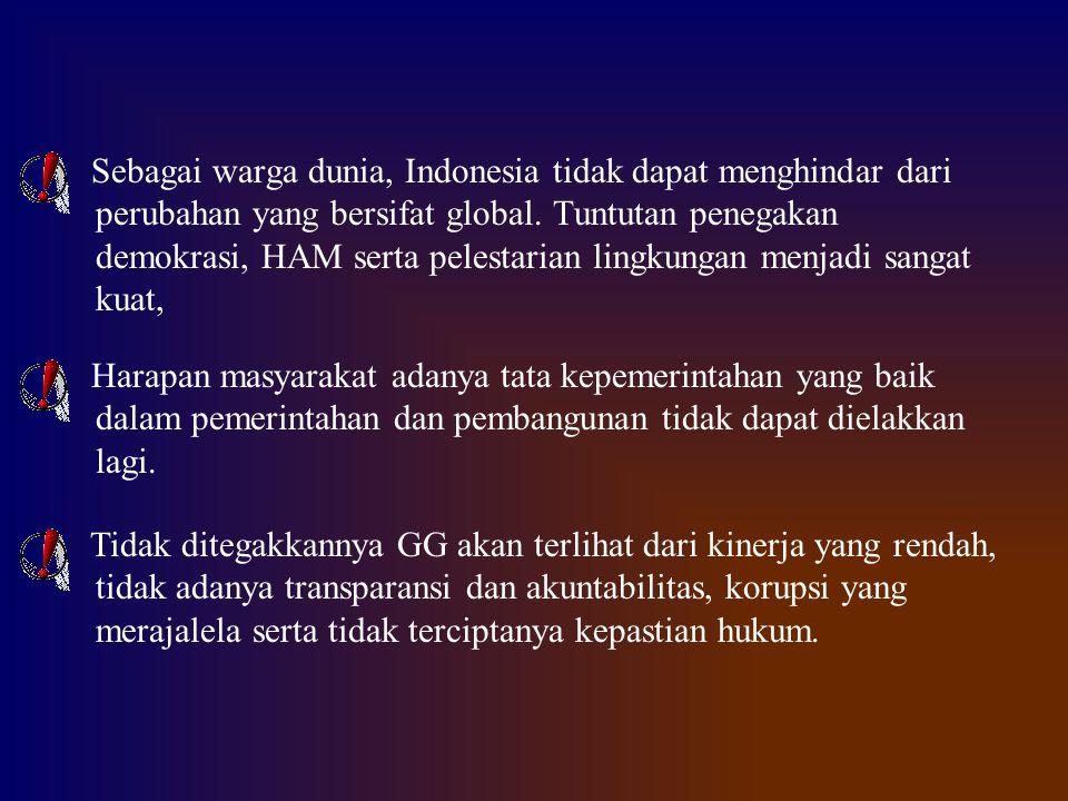 Sebagai warga dunia, Indonesia tidak dapat menghindar dari perubahan yang bersifat global. Tuntutan penegakan demokrasi, HAM serta pelestarian lingkun