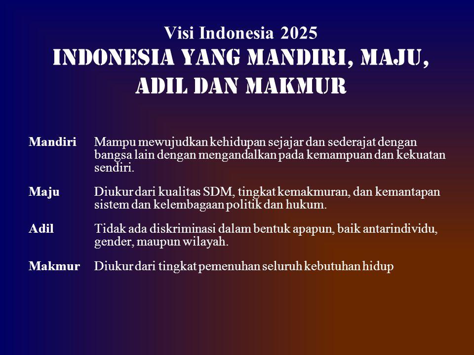 Visi Indonesia 2025 INDONESIA YANG MANDIRI, MAJU, ADIL DAN MAKMUR Mandiri Mampu mewujudkan kehidupan sejajar dan sederajat dengan bangsa lain dengan m