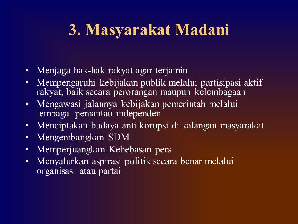 3. Masyarakat Madani Menjaga hak-hak rakyat agar terjamin Mempengaruhi kebijakan publik melalui partisipasi aktif rakyat, baik secara perorangan maupu