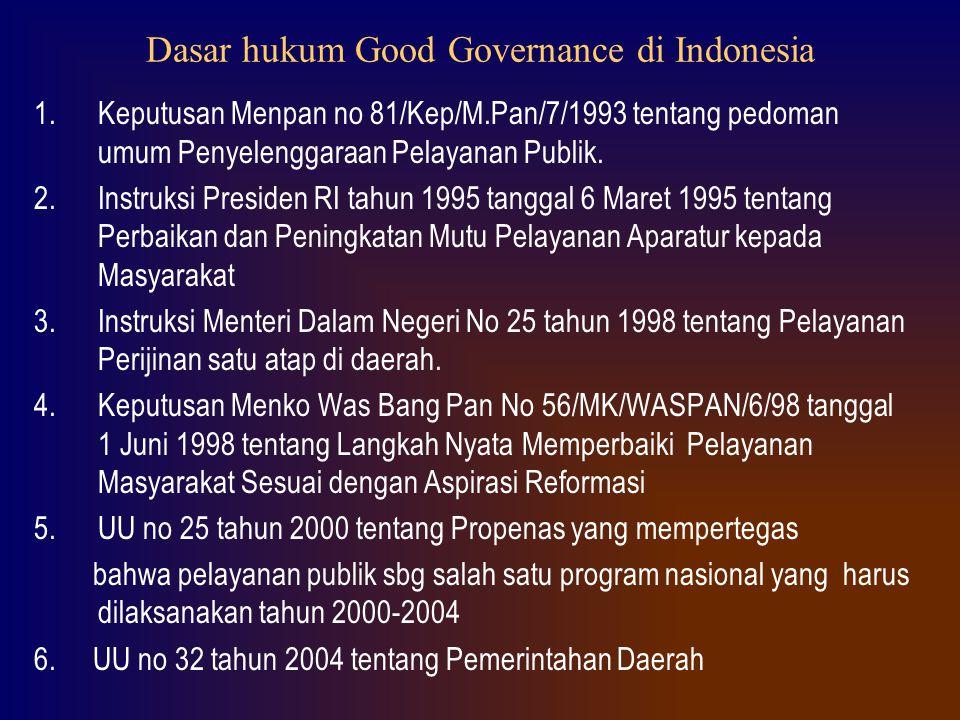 Dasar hukum Good Governance di Indonesia 1.Keputusan Menpan no 81/Kep/M.Pan/7/1993 tentang pedoman umum Penyelenggaraan Pelayanan Publik. 2.Instruksi