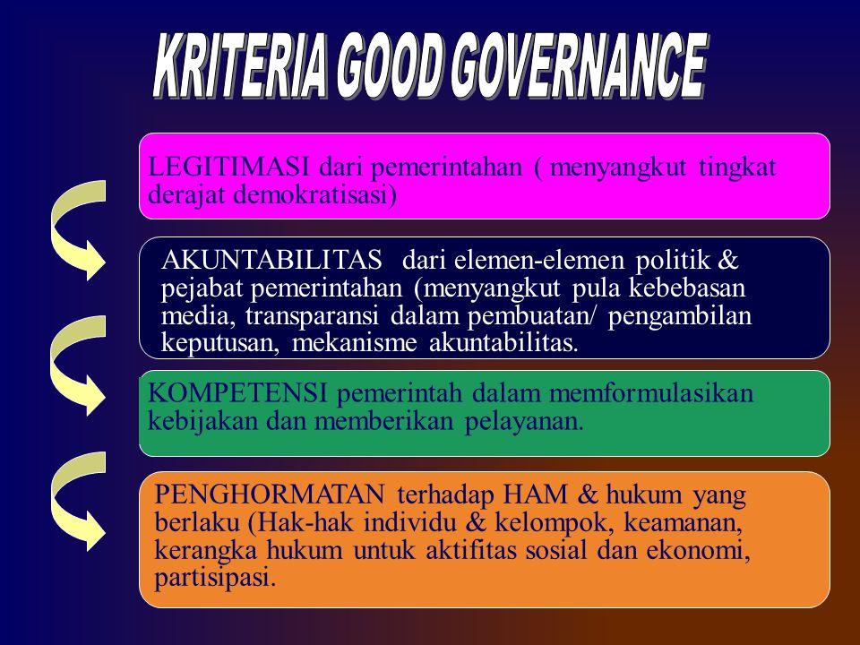 LEGITIMASI dari pemerintahan ( menyangkut tingkat derajat demokratisasi) AKUNTABILITAS dari elemen-elemen politik & pejabat pemerintahan (menyangkut p