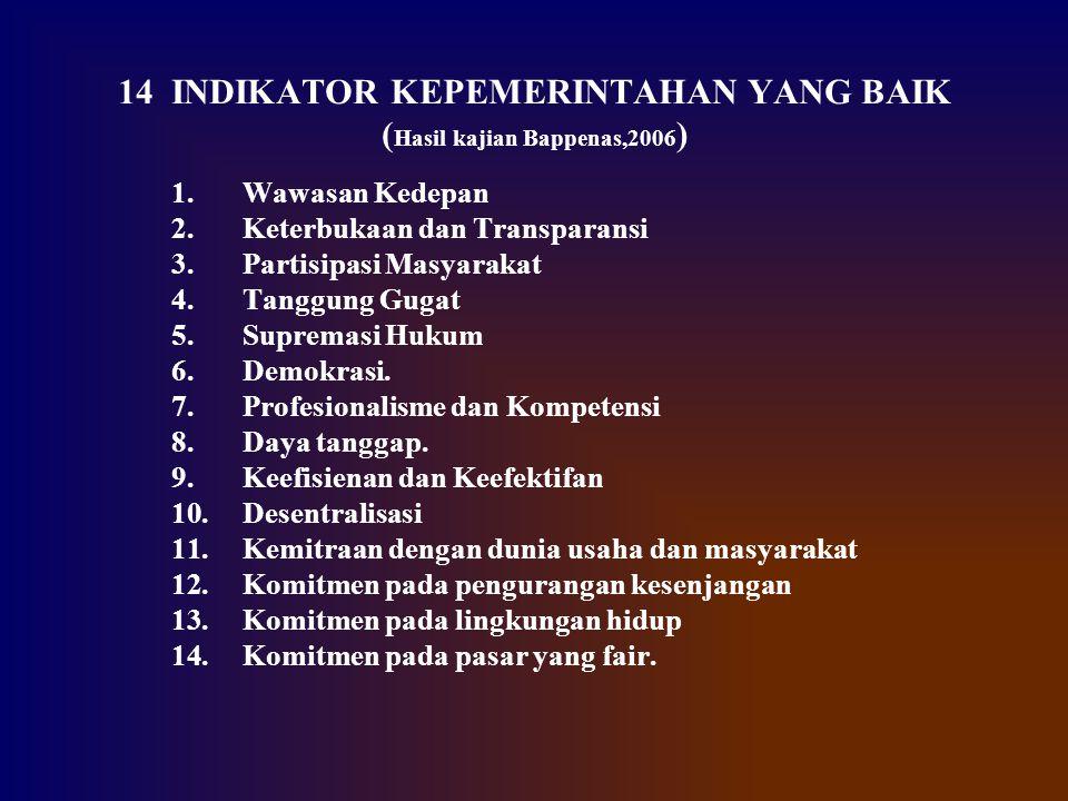 14 INDIKATOR KEPEMERINTAHAN YANG BAIK ( Hasil kajian Bappenas,2006 ) 1.Wawasan Kedepan 2.Keterbukaan dan Transparansi 3.Partisipasi Masyarakat 4.Tangg