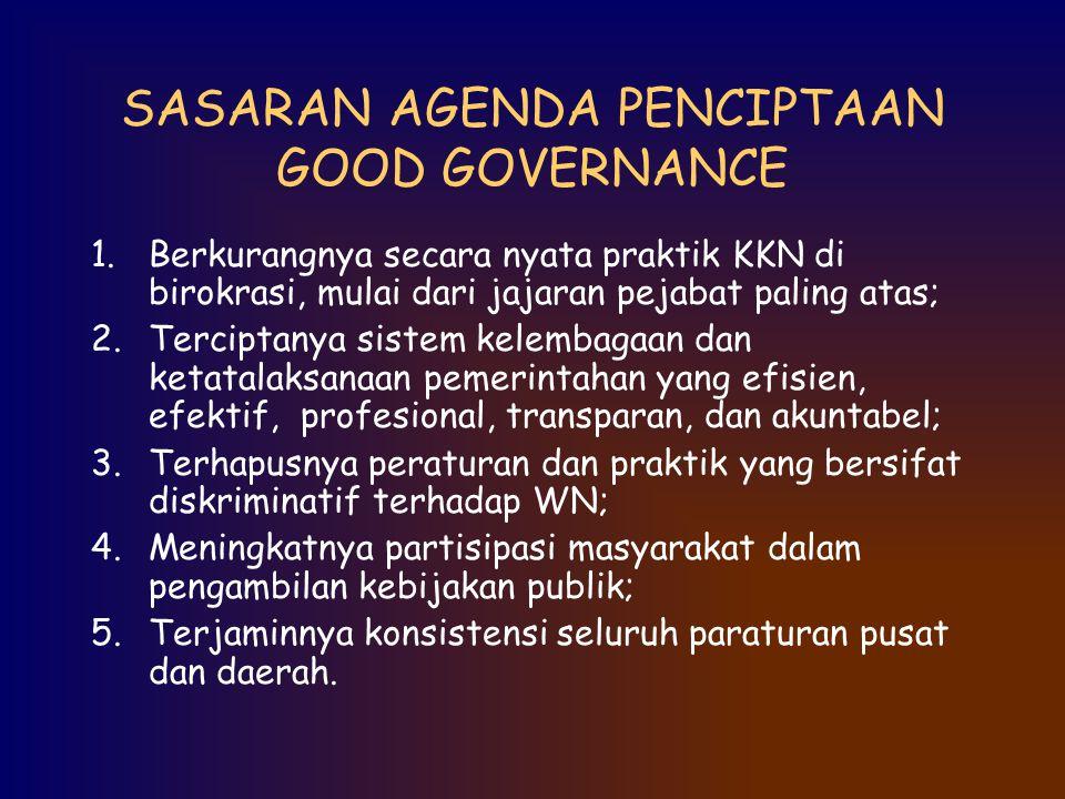 SASARAN AGENDA PENCIPTAAN GOOD GOVERNANCE 1.Berkurangnya secara nyata praktik KKN di birokrasi, mulai dari jajaran pejabat paling atas; 2.Terciptanya