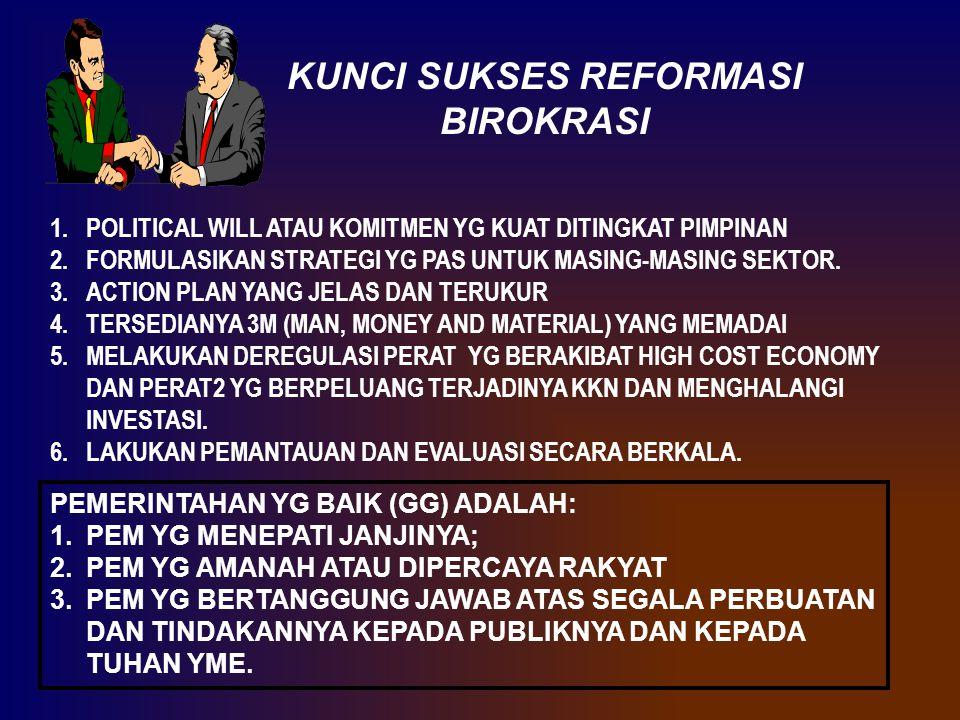 KUNCI SUKSES REFORMASI BIROKRASI 1.POLITICAL WILL ATAU KOMITMEN YG KUAT DITINGKAT PIMPINAN 2.FORMULASIKAN STRATEGI YG PAS UNTUK MASING-MASING SEKTOR.