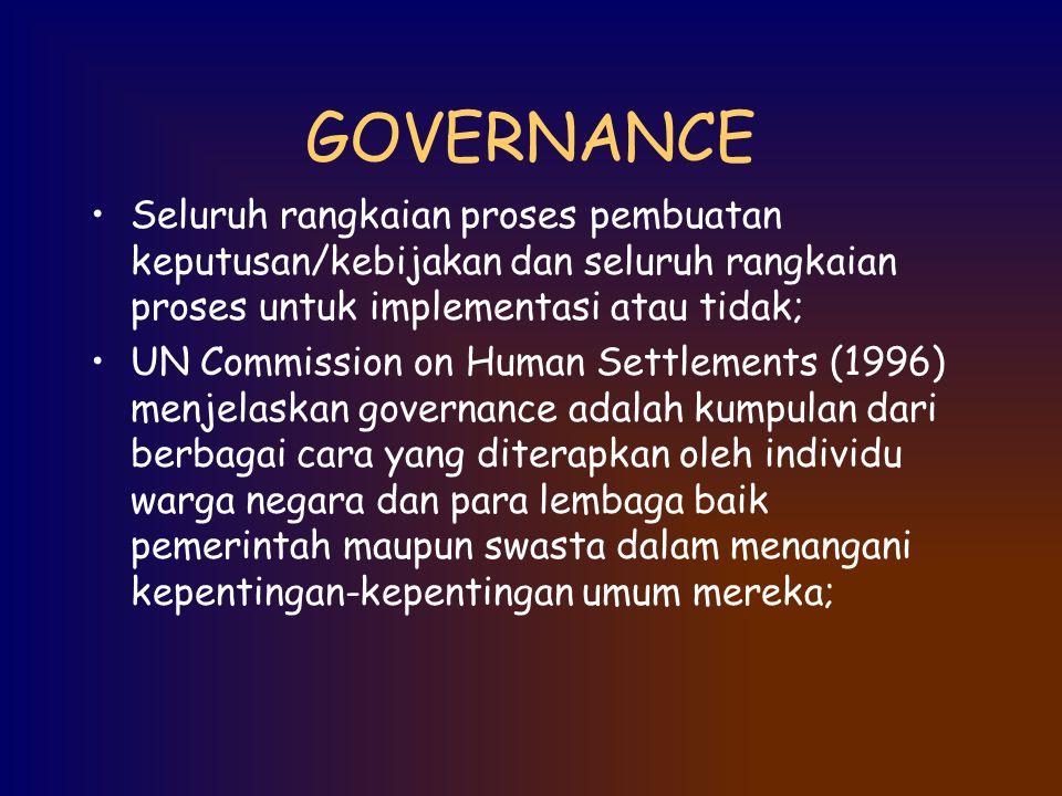 GOVERNANCE Seluruh rangkaian proses pembuatan keputusan/kebijakan dan seluruh rangkaian proses untuk implementasi atau tidak; UN Commission on Human S