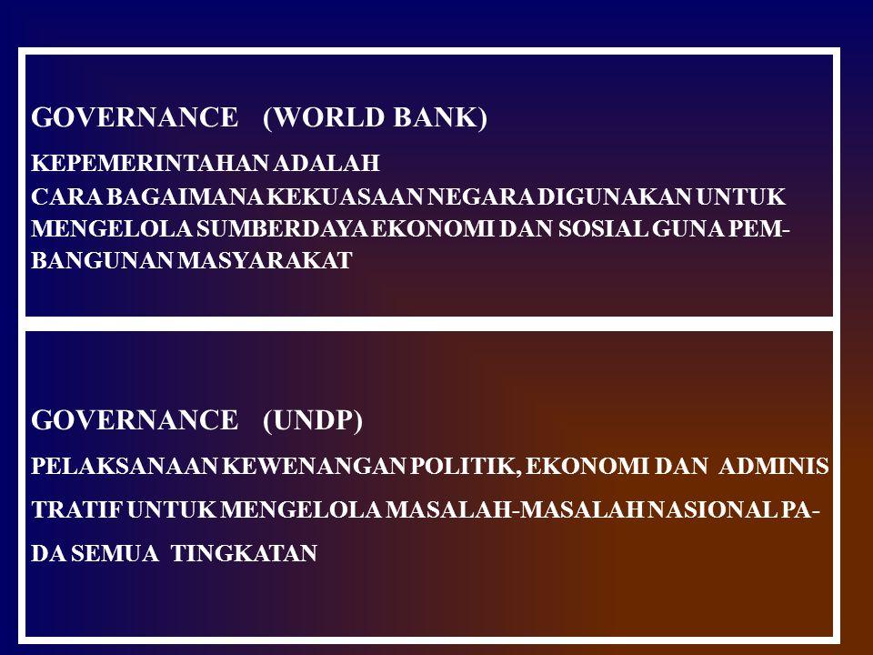 GOVERNANCE (WORLD BANK) KEPEMERINTAHAN ADALAH CARA BAGAIMANA KEKUASAAN NEGARA DIGUNAKAN UNTUK MENGELOLA SUMBERDAYA EKONOMI DAN SOSIAL GUNA PEM- BANGUN