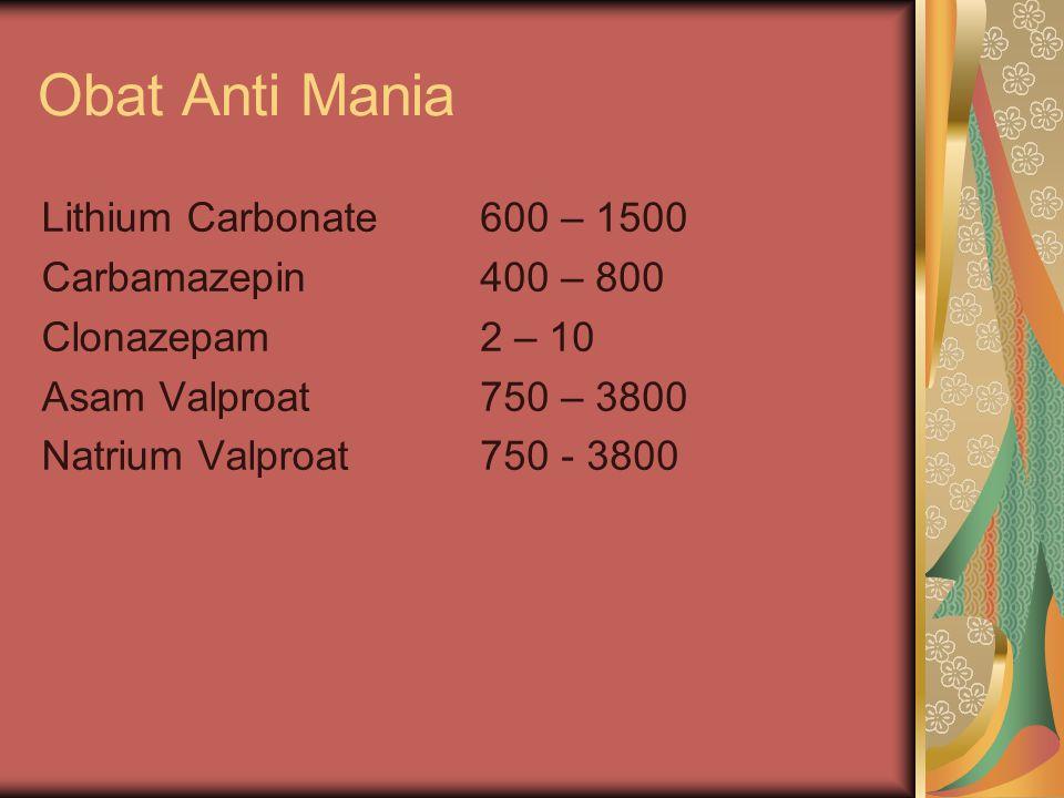 Obat Anti Mania Lithium Carbonate Carbamazepin Clonazepam Asam Valproat Natrium Valproat 600 – 1500 400 – 800 2 – 10 750 – 3800 750 - 3800