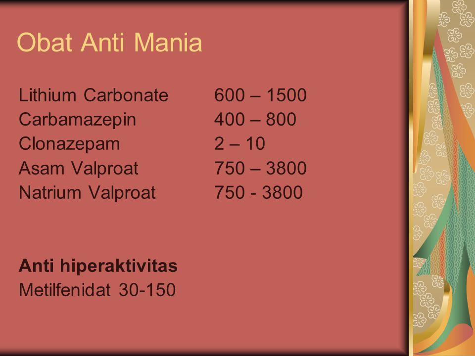 Obat Anti Mania Lithium Carbonate Carbamazepin Clonazepam Asam Valproat Natrium Valproat Anti hiperaktivitas Metilfenidat 30-150 600 – 1500 400 – 800