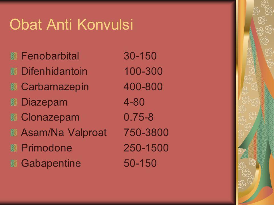 Obat Anti Konvulsi Fenobarbital Difenhidantoin Carbamazepin Diazepam Clonazepam Asam/Na Valproat Primodone Gabapentine 30-150 100-300 400-800 4-80 0.7