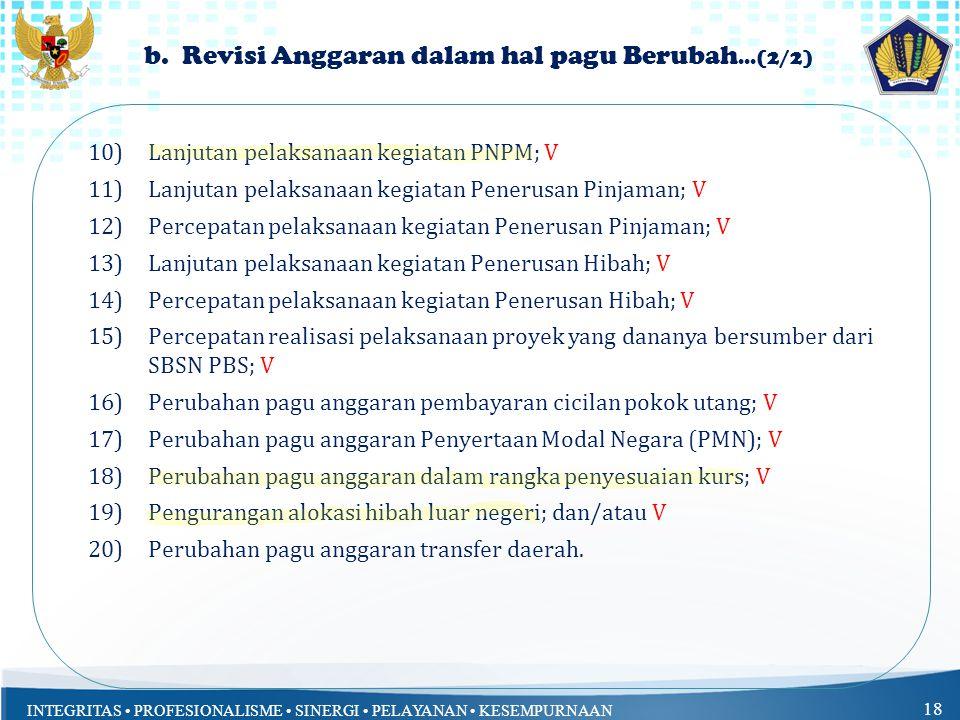 INTEGRITAS PROFESIONALISME SINERGI PELAYANAN KESEMPURNAAN 18 b. Revisi Anggaran dalam hal pagu Berubah...(2/2) 10)Lanjutan pelaksanaan kegiatan PNPM;
