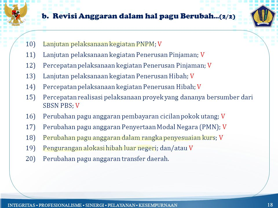 INTEGRITAS PROFESIONALISME SINERGI PELAYANAN KESEMPURNAAN 18 b.