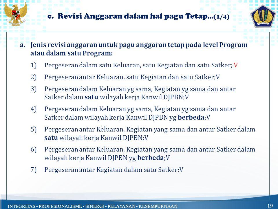 INTEGRITAS PROFESIONALISME SINERGI PELAYANAN KESEMPURNAAN 19 c. Revisi Anggaran dalam hal pagu Tetap …(1/4) a.Jenis revisi anggaran untuk pagu anggara