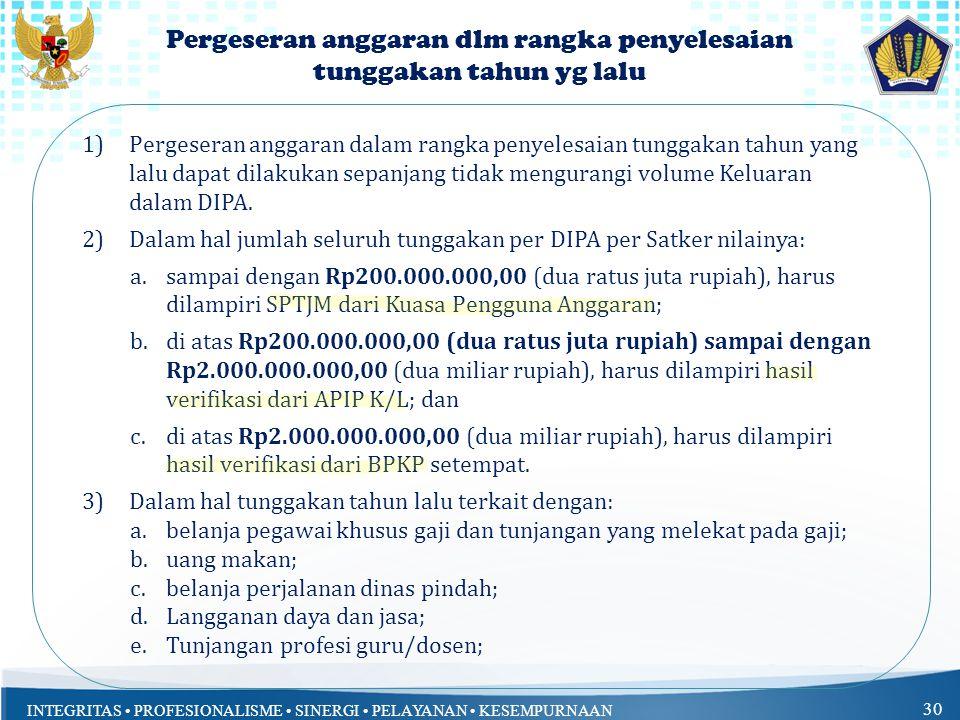 INTEGRITAS PROFESIONALISME SINERGI PELAYANAN KESEMPURNAAN 30 Pergeseran anggaran dlm rangka penyelesaian tunggakan tahun yg lalu 1)Pergeseran anggaran