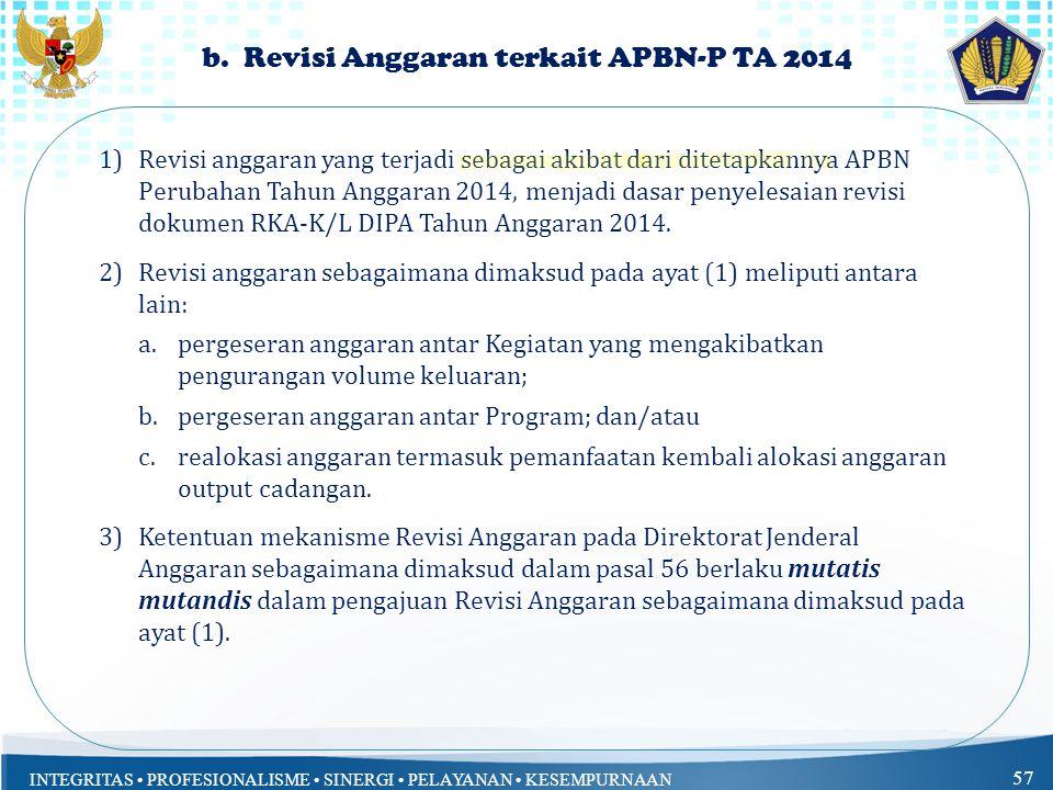 INTEGRITAS PROFESIONALISME SINERGI PELAYANAN KESEMPURNAAN 57 b. Revisi Anggaran terkait APBN-P TA 2014 1)Revisi anggaran yang terjadi sebagai akibat d