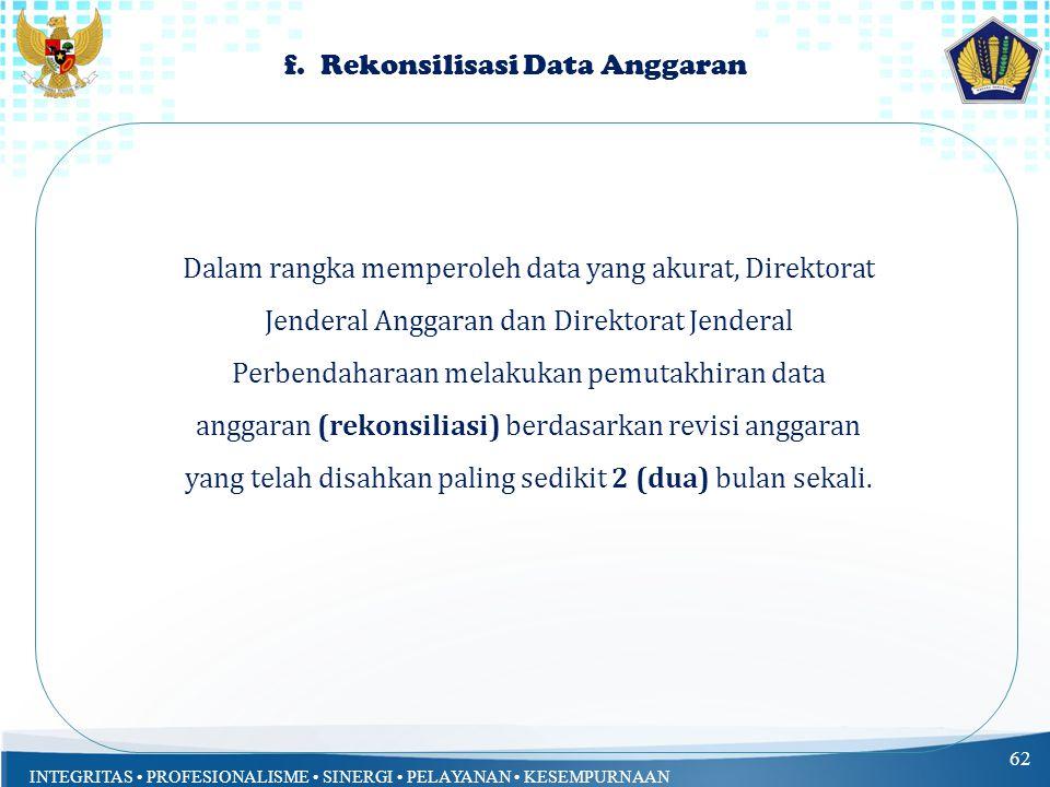INTEGRITAS PROFESIONALISME SINERGI PELAYANAN KESEMPURNAAN 62 Dalam rangka memperoleh data yang akurat, Direktorat Jenderal Anggaran dan Direktorat Jen
