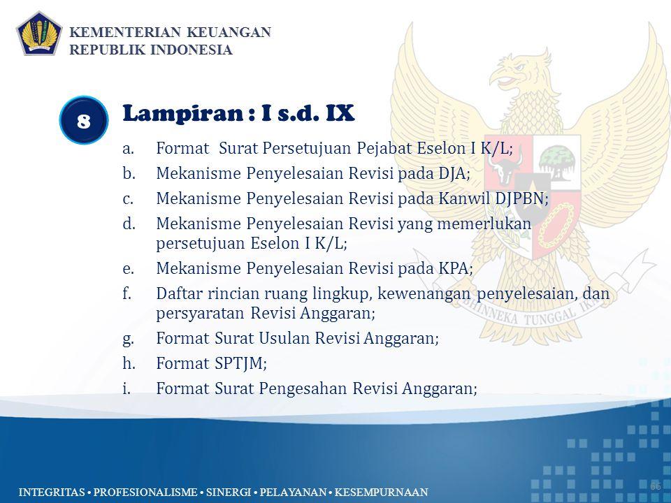 INTEGRITAS PROFESIONALISME SINERGI PELAYANAN KESEMPURNAAN 66 Lampiran : I s.d. IX a.Format Surat Persetujuan Pejabat Eselon I K/L; b.Mekanisme Penyele