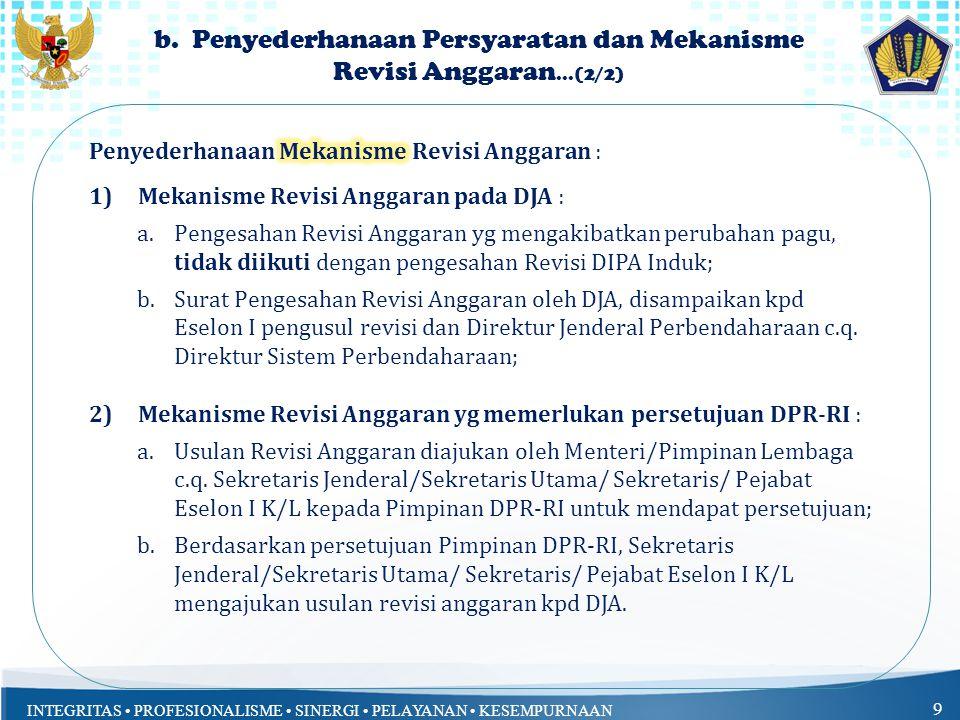 INTEGRITAS PROFESIONALISME SINERGI PELAYANAN KESEMPURNAAN 9 b. Penyederhanaan Persyaratan dan Mekanisme Revisi Anggaran...(2/2)