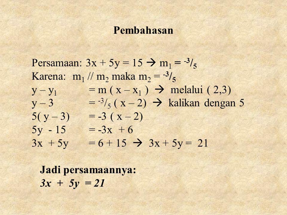 Pembahasan Persamaan: 3x + 5y = 15  m 1 = -3 / 5 Karena: m 1 // m 2 maka m 2 = -3 / 5 y – y 1 = m ( x – x 1 )  melalui ( 2,3) y – 3= -3 / 5 ( x – 2)  kalikan dengan 5 5( y – 3)= -3 ( x – 2) 5y - 15= -3x + 6 3x + 5y= 6 + 15  3x + 5y = 21 Jadi persamaannya: 3x + 5y = 21