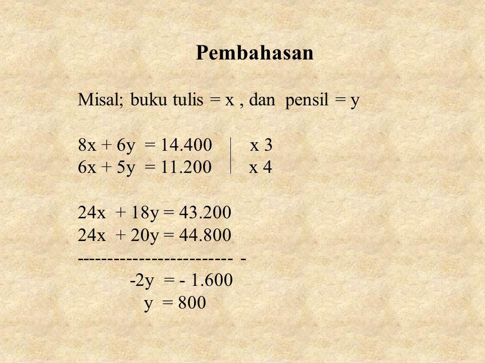 Pembahasan Misal; buku tulis = x, dan pensil = y 8x + 6y = 14.400 x 3 6x + 5y = 11.200 x 4 24x + 18y = 43.200 24x + 20y = 44.800 ---------------------