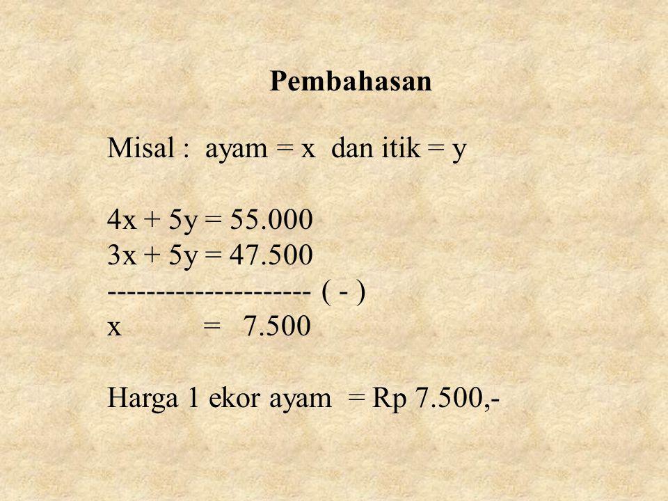 Pembahasan Misal : ayam = x dan itik = y 4x + 5y = 55.000 3x + 5y = 47.500 --------------------- ( - ) x = 7.500 Harga 1 ekor ayam = Rp 7.500,-