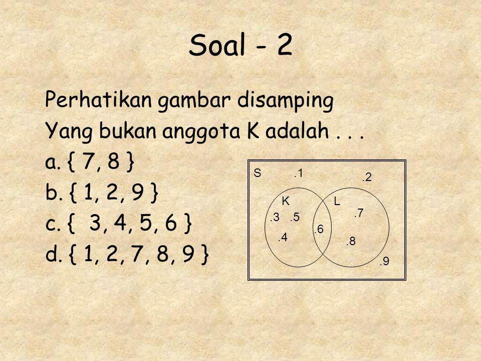 Soal - 2 Perhatikan gambar disamping Yang bukan anggota K adalah... a. { 7, 8 } b. { 1, 2, 9 } c. { 3, 4, 5, 6 } d. { 1, 2, 7, 8, 9 } S KL.1.2.3.4.5.6