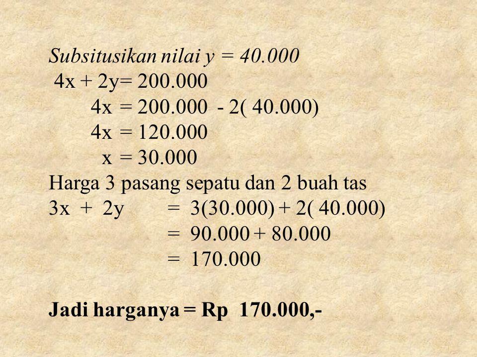 Subsitusikan nilai y = 40.000 4x + 2y= 200.000 4x= 200.000 - 2( 40.000) 4x= 120.000 x= 30.000 Harga 3 pasang sepatu dan 2 buah tas 3x + 2y= 3(30.000) + 2( 40.000) = 90.000 + 80.000 = 170.000 Jadi harganya = Rp 170.000,-