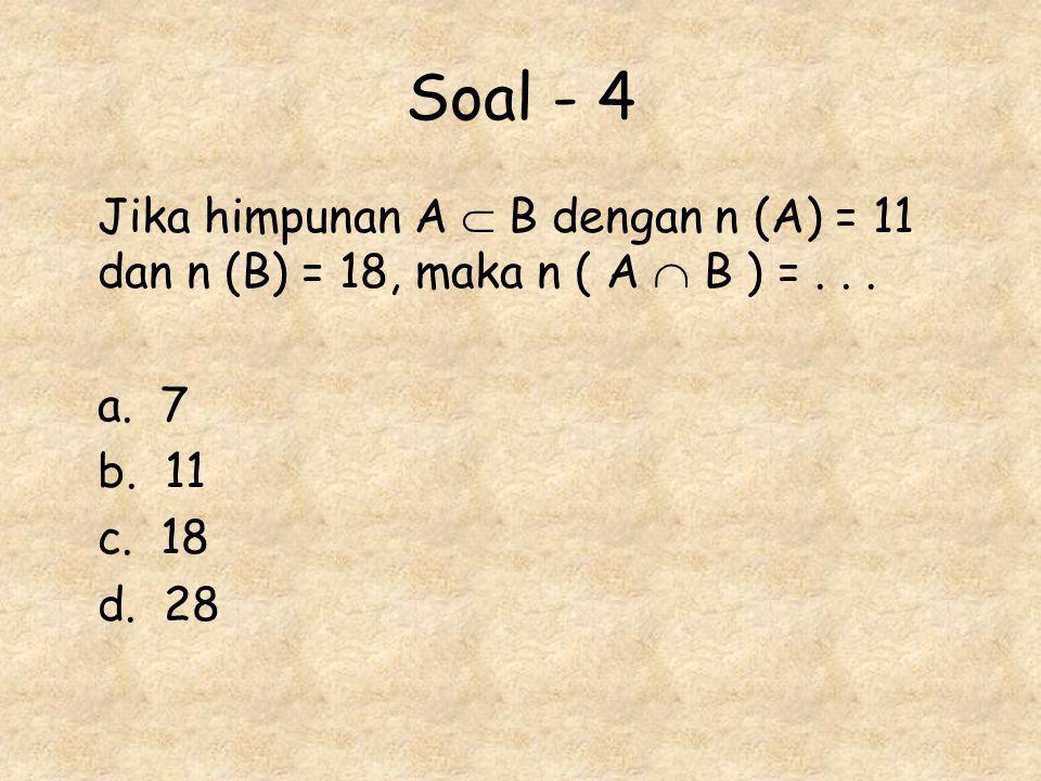 Soal - 4 Jika himpunan A  B dengan n (A) = 11 dan n (B) = 18, maka n ( A  B ) =... a. 7 b. 11 c. 18 d. 28