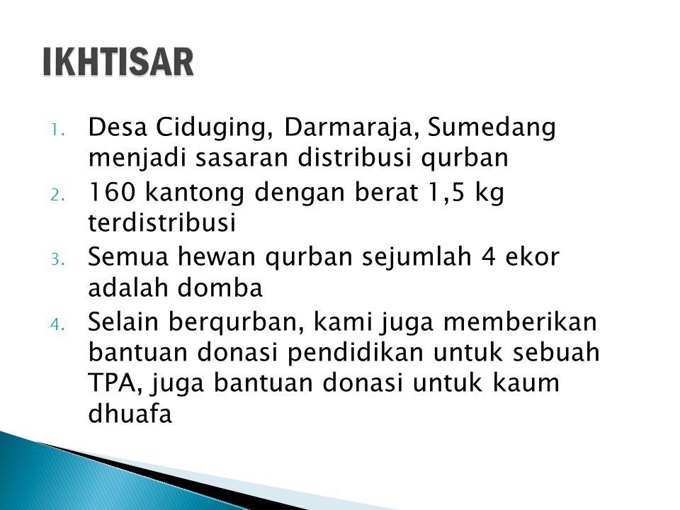 1. Desa Ciduging, Darmaraja, Sumedang menjadi sasaran distribusi qurban 2.
