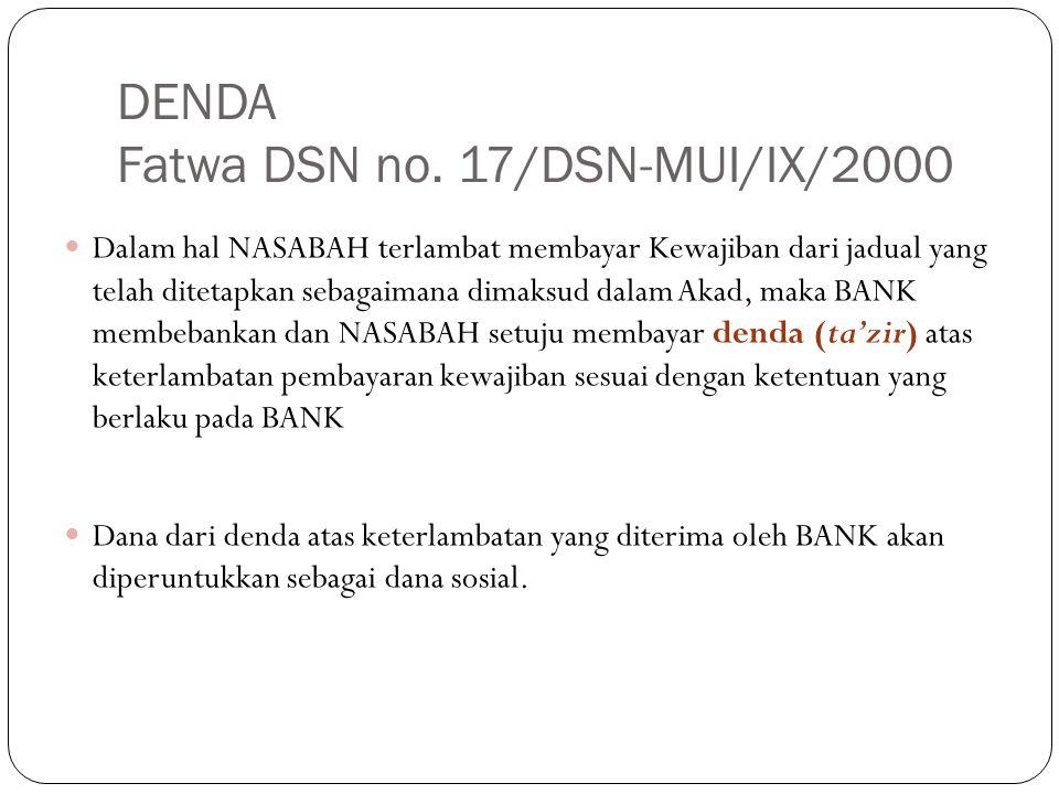 DENDA Fatwa DSN no. 17/DSN-MUI/IX/2000 Dalam hal NASABAH terlambat membayar Kewajiban dari jadual yang telah ditetapkan sebagaimana dimaksud dalam Aka