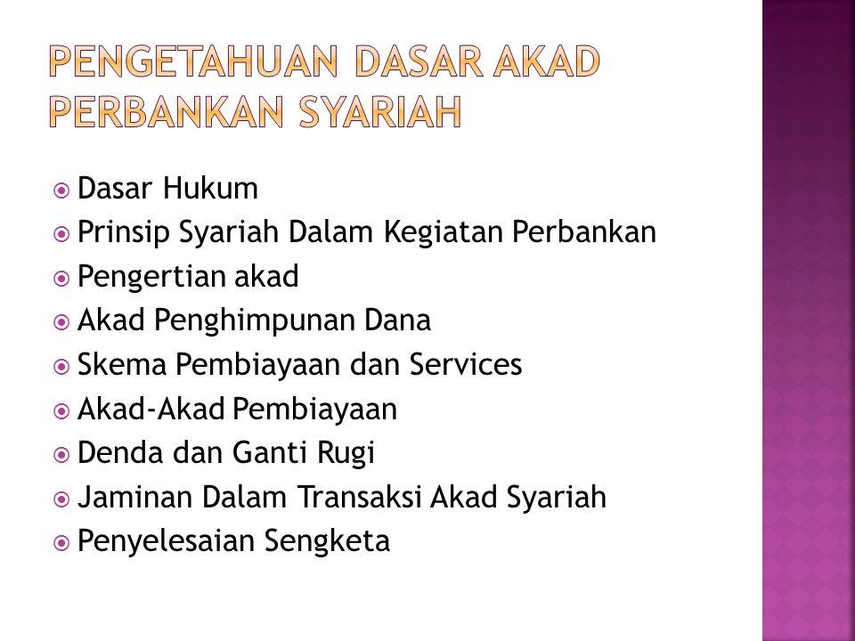  Dasar Hukum  Prinsip Syariah Dalam Kegiatan Perbankan  Pengertian akad  Akad Penghimpunan Dana  Skema Pembiayaan dan Services  Akad-Akad Pembia