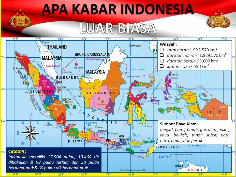 Wilayah:  total darat: 1.922.570 km²  daratan non-air: 1.829.570 km²  daratan berair: 93.000 km²  lautan: 3.257.483 km² Catatan : Indonesia memili