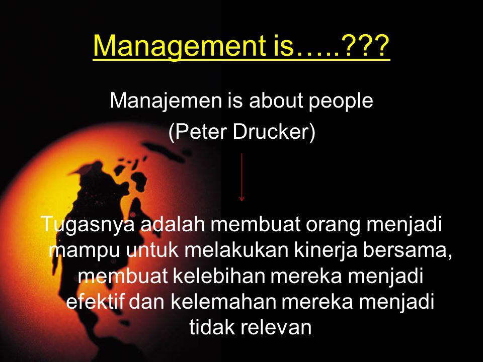 Management is…..??? Manajemen is about people (Peter Drucker) Tugasnya adalah membuat orang menjadi mampu untuk melakukan kinerja bersama, membuat kel