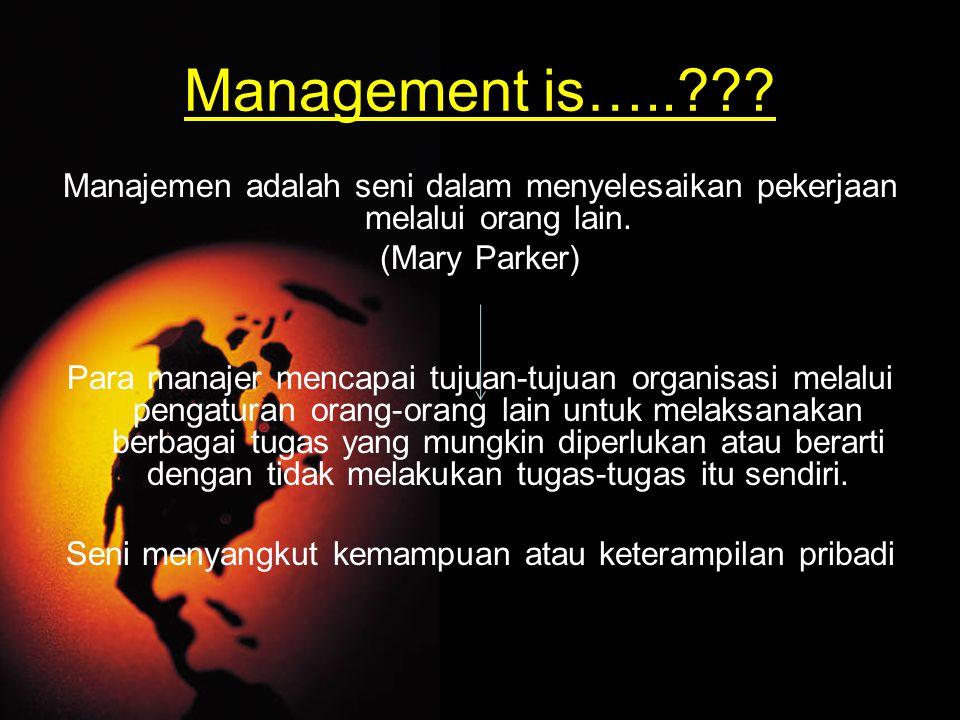 Management is…..??? Manajemen adalah seni dalam menyelesaikan pekerjaan melalui orang lain. (Mary Parker) Para manajer mencapai tujuan-tujuan organisa