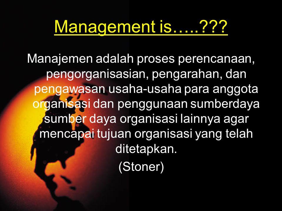 Manajemen adalah proses perencanaan, pengorganisasian, pengarahan, dan pengawasan usaha-usaha para anggota organisasi dan penggunaan sumberdaya sumber daya organisasi lainnya agar mencapai tujuan organisasi yang telah ditetapkan.
