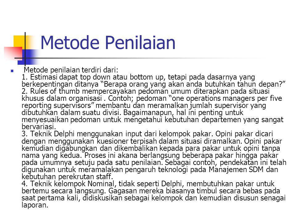 """Metode Penilaian Metode penilaian terdiri dari: 1. Estimasi dapat top down atau bottom up, tetapi pada dasarnya yang berkepentingan ditanya """"Berapa or"""