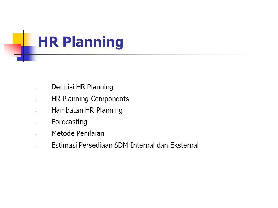 HR Planning - Definisi HR Planning - HR Planning Components - Hambatan HR Planning - Forecasting - Metode Penilaian - Estimasi Persediaan SDM Internal dan Eksternal