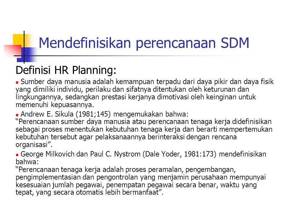Mendefinisikan perencanaan SDM Definisi HR Planning: Sumber daya manusia adalah kemampuan terpadu dari daya pikir dan daya fisik yang dimiliki individu, perilaku dan sifatnya ditentukan oleh keturunan dan lingkungannya, sedangkan prestasi kerjanya dimotivasi oleh keinginan untuk memenuhi kepuasannya.