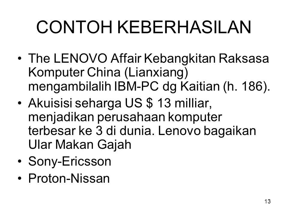 13 CONTOH KEBERHASILAN The LENOVO Affair Kebangkitan Raksasa Komputer China (Lianxiang) mengambilalih IBM-PC dg Kaitian (h. 186). Akuisisi seharga US