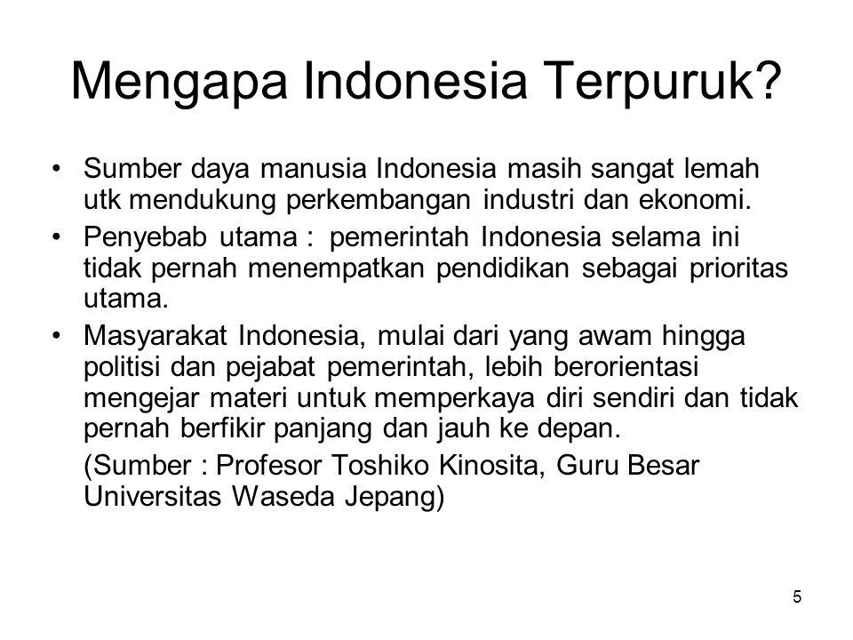 5 Mengapa Indonesia Terpuruk? Sumber daya manusia Indonesia masih sangat lemah utk mendukung perkembangan industri dan ekonomi. Penyebab utama : pemer