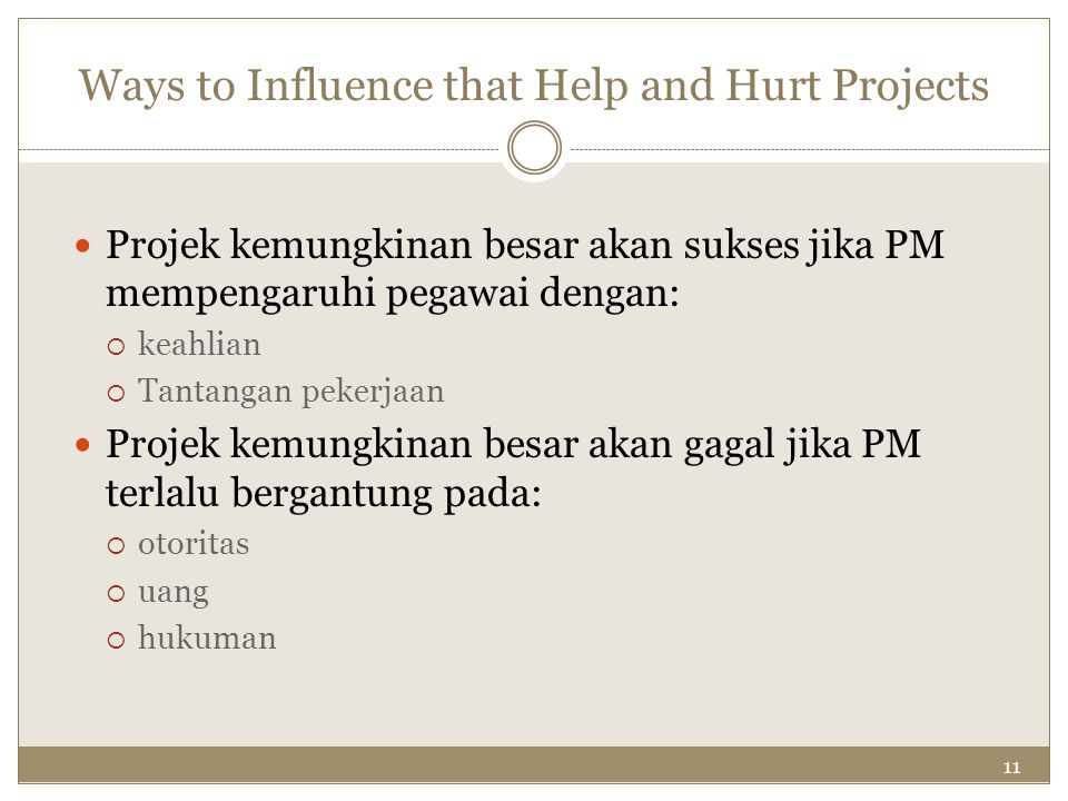 11 Ways to Influence that Help and Hurt Projects Projek kemungkinan besar akan sukses jika PM mempengaruhi pegawai dengan:  keahlian  Tantangan peke
