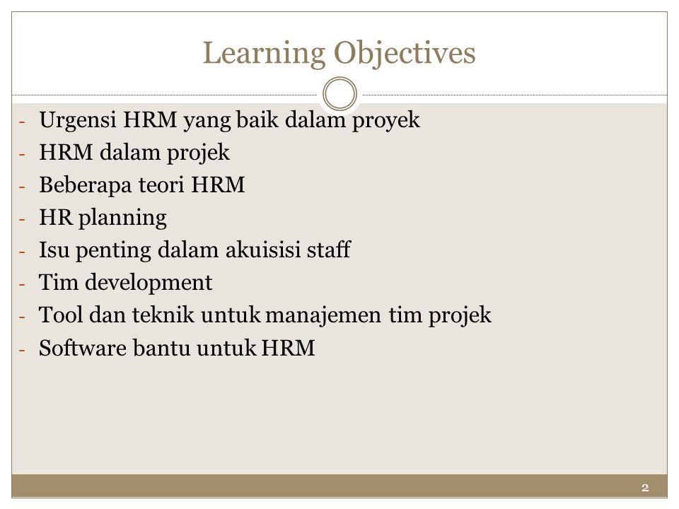 2 Learning Objectives - Urgensi HRM yang baik dalam proyek - HRM dalam projek - Beberapa teori HRM - HR planning - Isu penting dalam akuisisi staff -