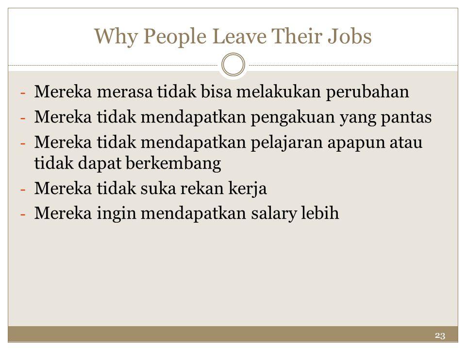 23 Why People Leave Their Jobs - Mereka merasa tidak bisa melakukan perubahan - Mereka tidak mendapatkan pengakuan yang pantas - Mereka tidak mendapat