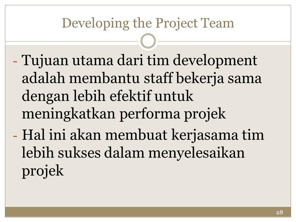 28 Developing the Project Team - Tujuan utama dari tim development adalah membantu staff bekerja sama dengan lebih efektif untuk meningkatkan performa