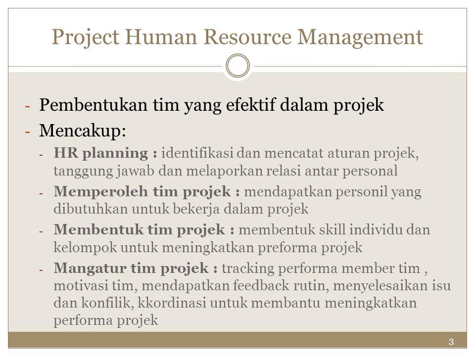 3 Project Human Resource Management - Pembentukan tim yang efektif dalam projek - Mencakup: - HR planning : identifikasi dan mencatat aturan projek, t