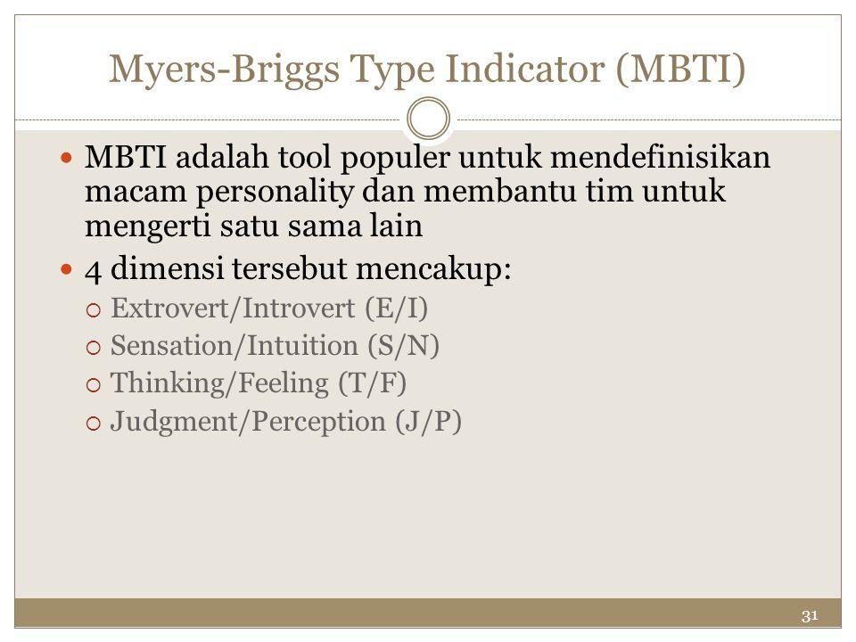 31 Myers-Briggs Type Indicator (MBTI) MBTI adalah tool populer untuk mendefinisikan macam personality dan membantu tim untuk mengerti satu sama lain 4