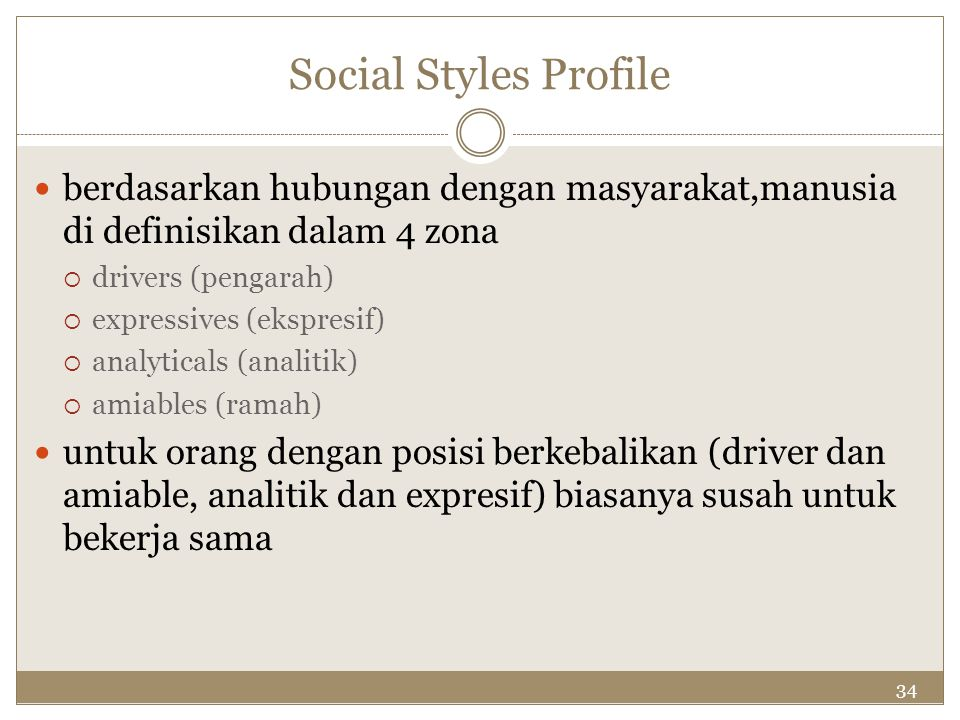 34 Social Styles Profile berdasarkan hubungan dengan masyarakat,manusia di definisikan dalam 4 zona  drivers (pengarah)  expressives (ekspresif)  a