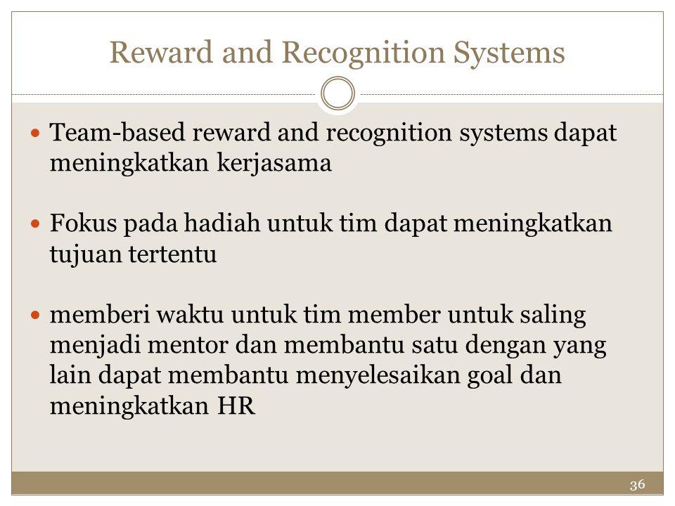 36 Reward and Recognition Systems Team-based reward and recognition systems dapat meningkatkan kerjasama Fokus pada hadiah untuk tim dapat meningkatka
